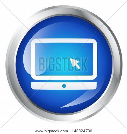 Glossy icon or button with laptop or computer symbol. 3D illustration