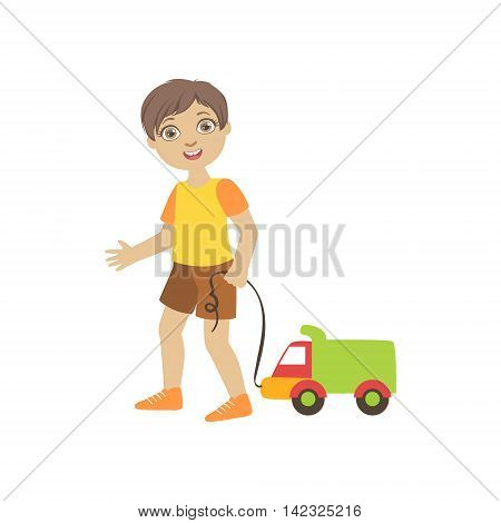 Boy Walking Dragging Toy Truck On A Srting Simple Design Illustration In Cute Fun Cartoon Style Isolated On White Background