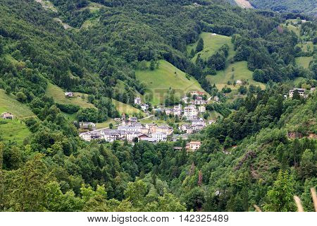 Panorama Of Village Valtorta In The Mountains In Lombardy, Italy