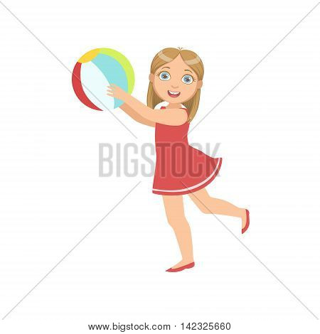 Girl Playing Inflatable Ball Simple Design Illustration In Cute Fun Cartoon Style Isolated On White Background