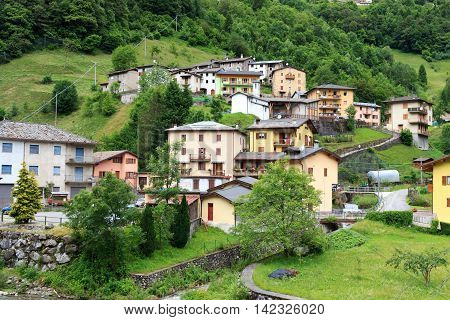 Panorama Of Village Rava In Lombardy, Italy