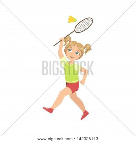 Girl Playing Badminton With Shuttlecock And Racket Simple Design Illustration In Cute Fun Cartoon Style Isolated On White Background