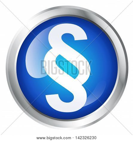 Glossy icon or button with paragraph symbol. 3D illustration