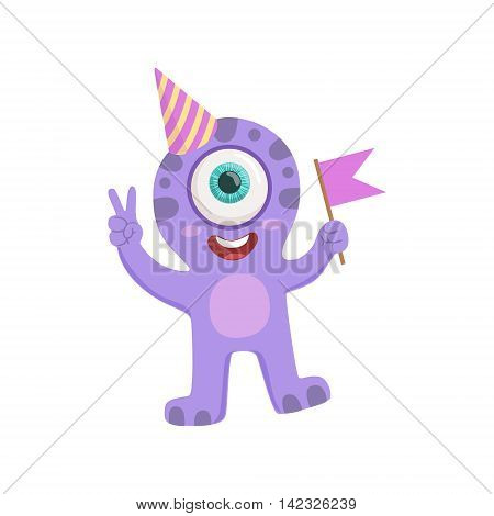 Purple Friendly Monster In Party Hat Cute Childish Sticker. Flat Cartoon Colorful Alien Character With Party Attributes Isolated On White Background.