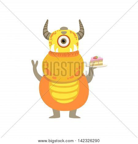 Yellow Friendly Monster With Horns And Cake Cute Childish Sticker. Flat Cartoon Colorful Alien Character With Party Attributes Isolated On White Background.