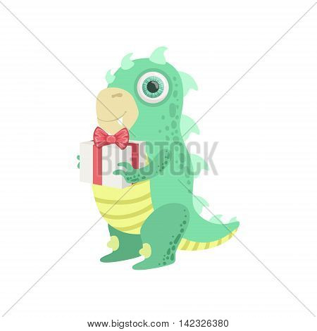 Dragon-like Friendly Monster With Gift Cute Childish Sticker. Flat Cartoon Colorful Alien Character With Party Attributes Isolated On White Background.