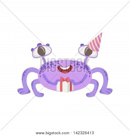 Purple Friendly Monster With Present Cute Childish Sticker. Flat Cartoon Colorful Alien Character With Party Attributes Isolated On White Background.