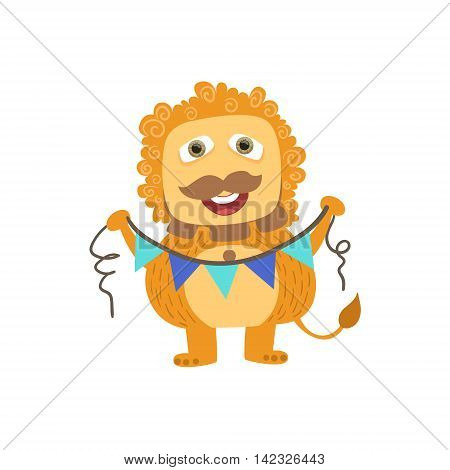 Lion-like Friendly Monster With Garland Cute Childish Sticker. Flat Cartoon Colorful Alien Character With Party Attributes Isolated On White Background.