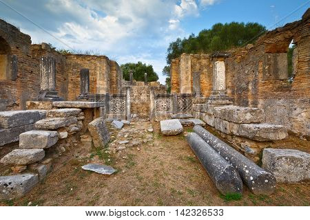 Pheidias' workshop and paleochristian basilica in the archaeological site of Ancient Olympia.