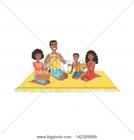 Family With Two Kids On Picnic Bright Color Cartoon Simple Style Flat Vector Clipart Isolated Illustration