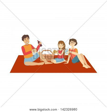 Family With Little Daughter On Picnic Bright Color Cartoon Simple Style Flat Vector Clipart Isolated Illustration