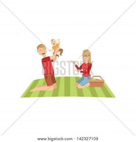 Young Parents With Baby On Picnic Bright Color Cartoon Simple Style Flat Vector Clipart Isolated Illustration