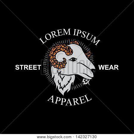 Lamb head vector, t-shirt design, vintage style