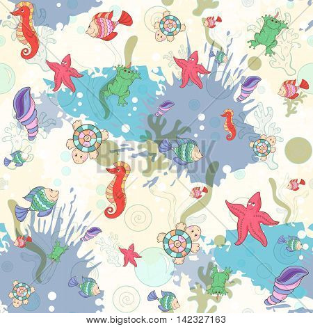Seamless pattern with sea inhabitants on the background color blots, inks. Vector marine illustration.