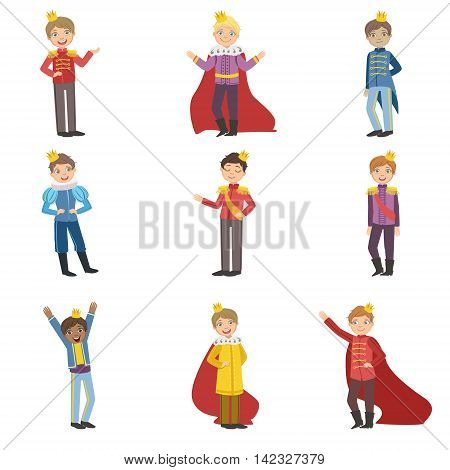 Little Boys Dressed As Fairy Tale Princes Set Of Cute Flat Characters In Bright Colored Clothes Isolated On White Background