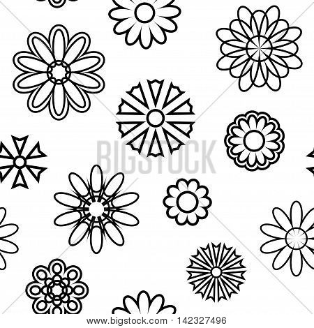 Seamless pattern with silhouettes of flowers on a light background.