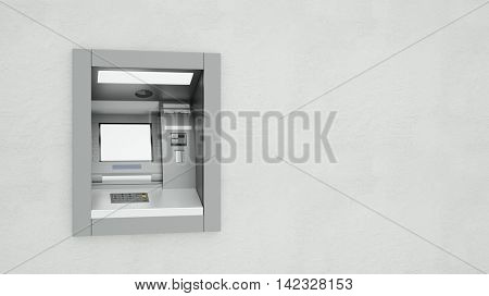 ATM wit a blank display on a wall (3D Rendering)