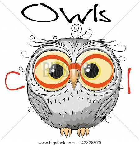 Cute Owl with red glasses isolated on a white background