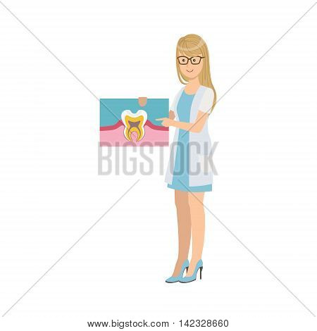 Woman Dentist In White Gown Holding Tooth Anatomy Drawing Simple Design Illustration In Cute Fun Cartoon Style Isolated On White Background