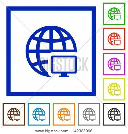 Set of color square framed Remote terminal flat icons