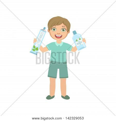 Boy Holding Big Toothpaste Tube And Mouthwash Bottle Simple Design Illustration In Cute Fun Cartoon Style Isolated On White Background