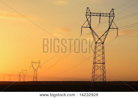 Telegraph Pole At Sunset