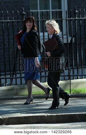 LONDON, UK, MAY 3, 2016: Nicky Morgan MP ( L ) seen arriving in Downing Street for the weekly cabinet meeting