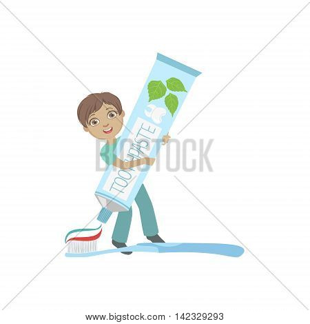 Boy Squeezing Giant Toothbaste Tube On Toothbrush Simple Design Illustration In Cute Fun Cartoon Style Isolated On White Background