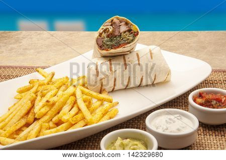 beach wraps with the traditional presentation of meat