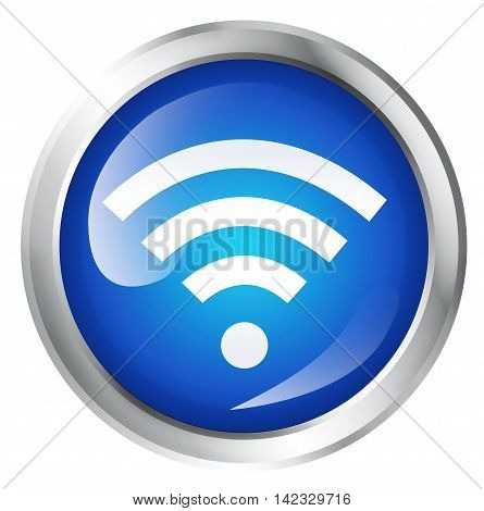 Glossy icon or button with WIFI symbol.