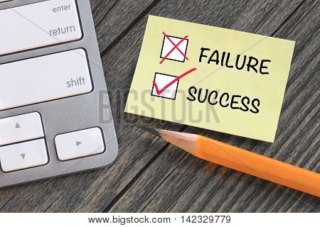 success concept and no failure message on desk