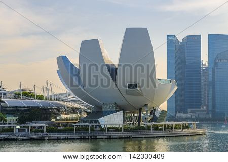 SINGAPORE - JANUARY 16, 2016: The ArtScience Museum at Marina Bay Sands is located along the Marina Bay waterfront and was opened in February 2011.