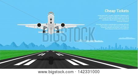 picture of a landing or taking off plane with mointains and big city silhouette on background flat style illustration