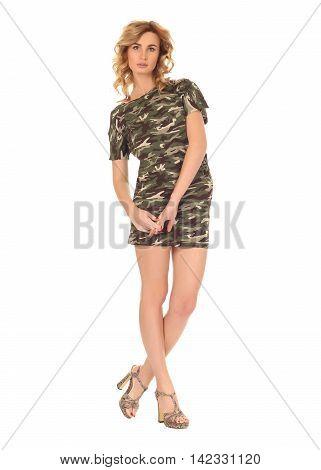 Fashion model wearing khaki workout dress on white