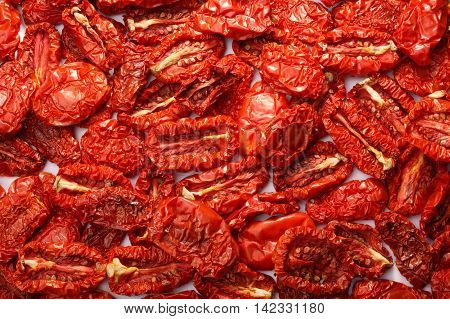 Dried Tomatoes Background, Top View