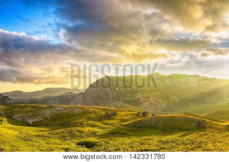 Wonderful view to mountains in the national park Durmitor. Montenegro Balkans Europe. Beauty world. Autumn Landscape jn a blue sky.