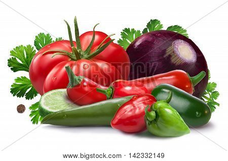Ingredients For Salsa Cruda Sauce, Clipping Paths