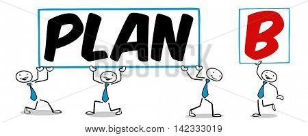 Cartoon businesspeople having a Plan B as business alternative