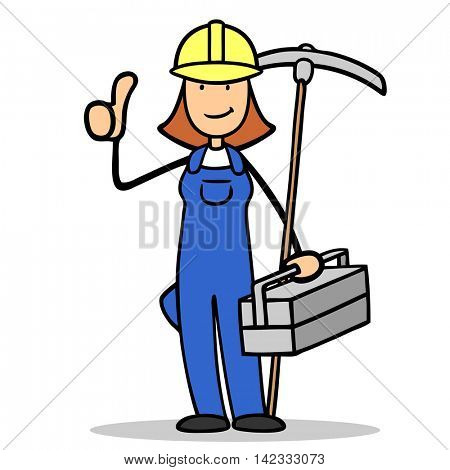 Female cartoon construction worker holding her thumbs up