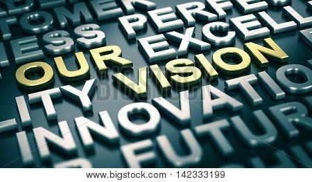 3D illustration of a company vision statement with blur effect and many positive words surrounding the main text