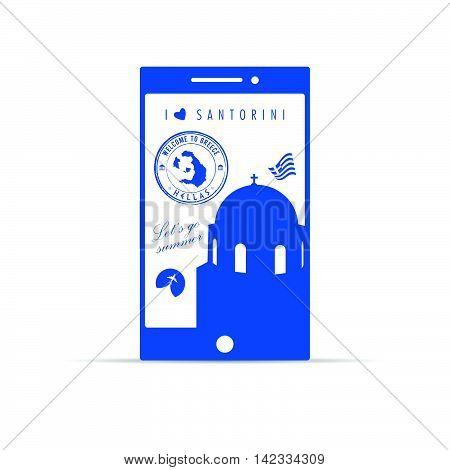 Greek Island Santorini On Mobile Phone Illustration In Blue