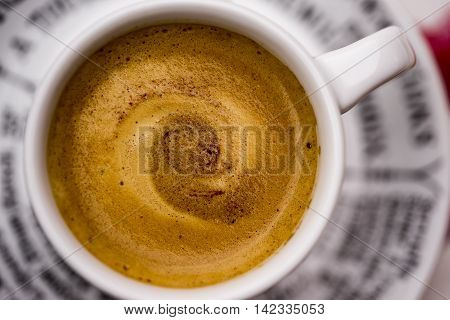 Top down first person perspective on close up of delicious creamy hot coffee or cocoa in mug