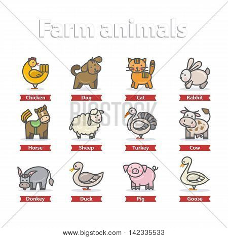 Farm animal icon set vector illustration isolated on a white background.Cute Cartoon farm animal character.