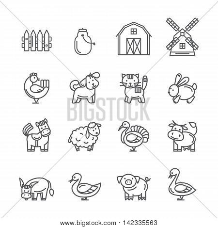 Farm animals set.Vector black thin line farm sign, symbol isolated on a white background
