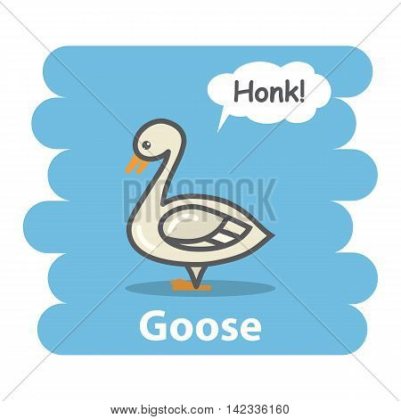 Goose vector illustration on isolated background.Cute Cartoon goose farm animal bird character speak Honk on a speech bubble.From the series what the say animals