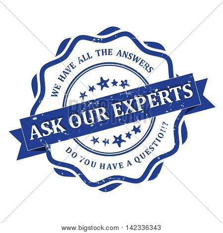 Ask our experts - grunge blue consultancy label for businesses. Print colors used