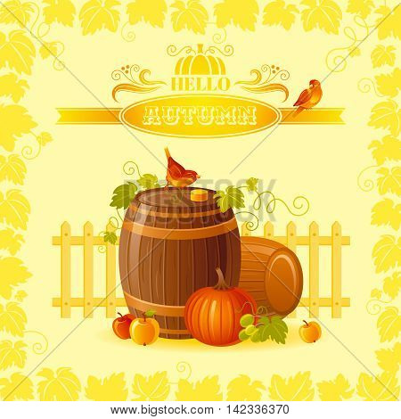 Thanksgiving vector illustration of beautiful autumn still life on sunny background with modern elegant text lettering, copy space. Countryside fall farm symbol - wine cask, cider apple, pumpkin