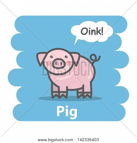 Cute pig vector illustration on isolated background.Cartoon pig farm animal character speak Oink on a speech bubble