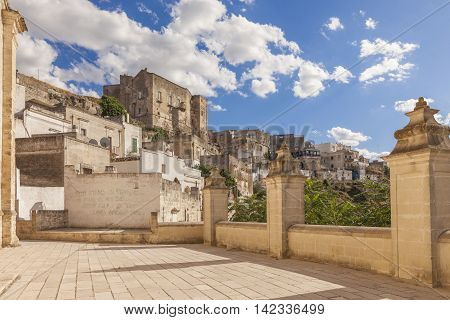 Panoramic view of Ginosa a typical south italian village similar to Matera