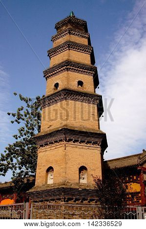 Xi 'an China - September 9 2006: The Hui Pagoda at the Bao Qing Temple was built from 827-40 A. D. and stands at the western end of Ancient Culture Street of the Academy Gate